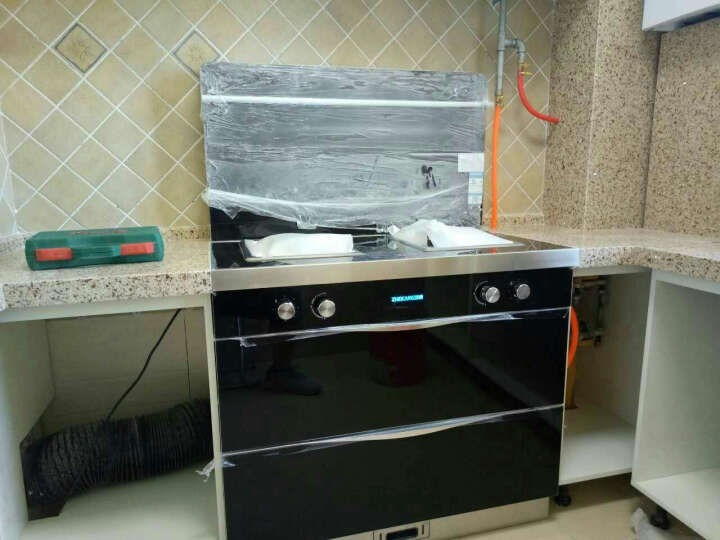 浙康 T90新款 集成灶 侧吸式 自动清洗 蒸箱烤箱一体机 下排烟环保灶具套装家用 高配 W90双电机 包边门板 气电两用 晒单图