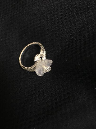 玛奈儿 925银戒指女款仿水晶日韩版樱花个性时尚开口食指学生白银尾戒潮流饰品送母亲节礼物 晒单图