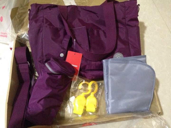 Aardman 妈咪包多功能大容量手提包外出包妈妈包母婴包斜跨包单肩HY-1606 深葡萄紫赠品参考页面说明 晒单图