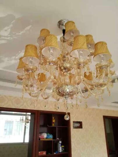 水晶吊灯欧式客厅灯现代简约卧室灯创意顶灯led餐厅灯金粉世家系列灯饰带白光灯泡 12+6头带罩琥珀 备注灯罩款式 晒单图
