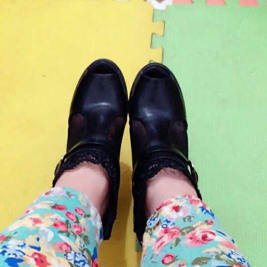 千億多 2017新款韩版蕾丝网纱鱼嘴靴春季透气高跟凉鞋女鞋罗马鞋 黑色 36 晒单图