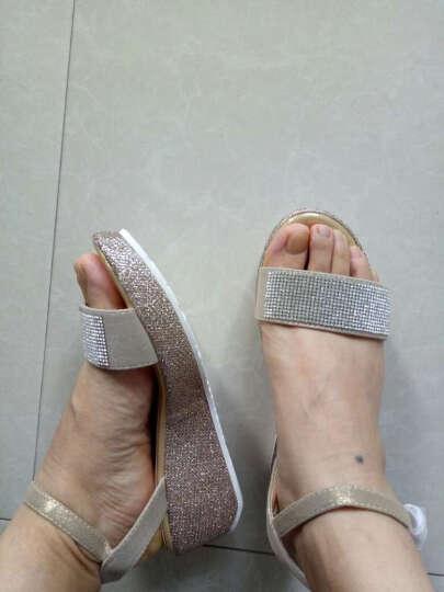 逸希凉鞋女新款中高跟亮片坡跟凉鞋厚底鱼嘴鞋松糕鞋子夏 黑色 39 晒单图
