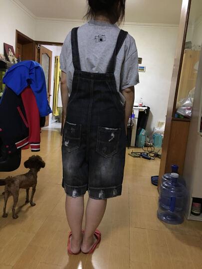 卉娴 牛仔背带裤女学生韩版宽松五分短裤夏季薄款破洞连体裤 9670蓝色 L 晒单图