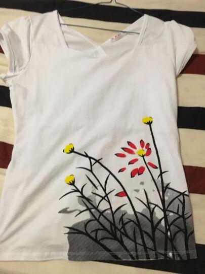 2018春夏新款百搭修身纯棉白色短袖印花T恤女泡泡袖上衣 白色荷花 2XL 晒单图