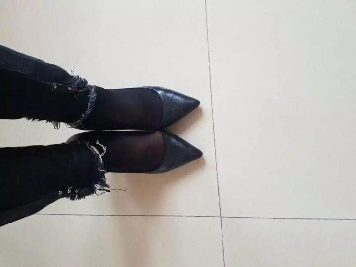 莱卡金顿2019春季新款尖头酒杯跟低帮鞋 套脚水钻时装鞋 防水台女鞋子 34-39 金色 37 晒单图