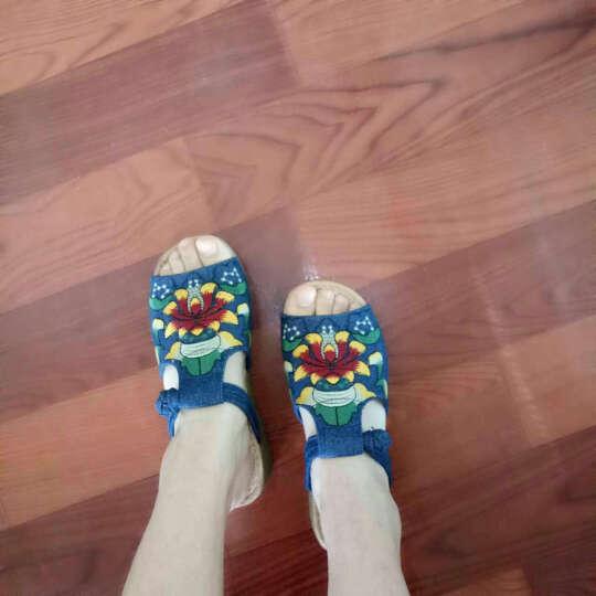 艺汇家夏季新款民族风绣花鞋 时尚特色女鞋坡跟拖鞋 米色 35鞋号偏小,请选择大一号 晒单图