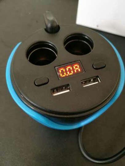华奈 车载充电器 车充点烟器 3.1A双USB一拖二 电压检测LED数显 独立开关 杯充 55 H9宝石蓝带电压检测+数据线+手机支架 晒单图