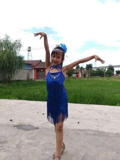 儿童拉丁舞演出服少儿女童拉表演练功服装女孩比赛考级服新款亮片流苏 大红色 140码/建议身高140cm 晒单图