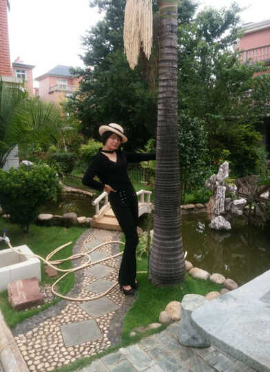 XBLGX春装韩版V领镂空短款上衣+开叉喇叭长裤两件套装女 黑色 M 晒单图