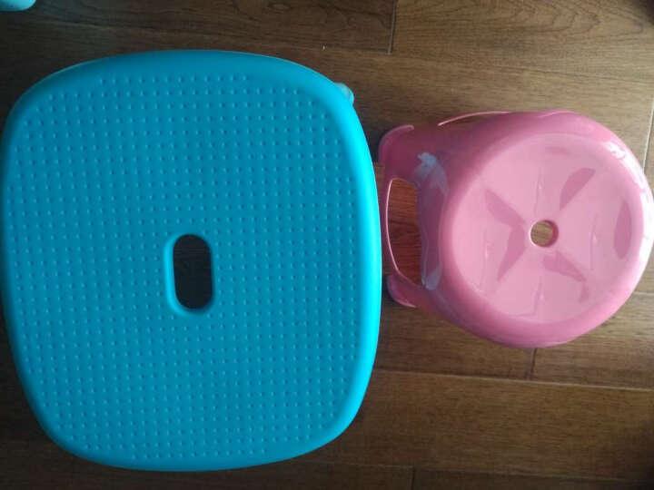 健安 塑料板凳加厚凳子现代休闲椅凳条纹圆凳带提手方凳绿色0853 晒单图