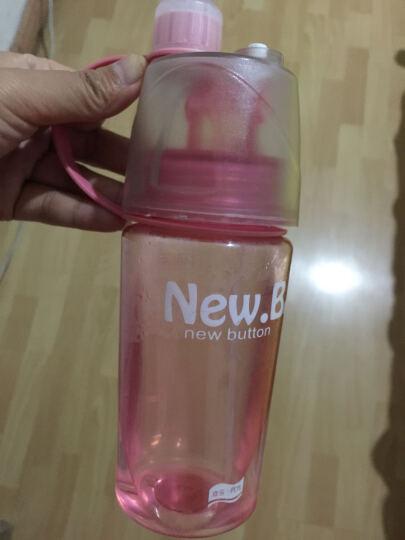创意水杯户外运动水壶 夏季喷雾喷水塑料随手杯子学生水瓶 手提带盖防漏太空杯 粉色400ML 晒单图