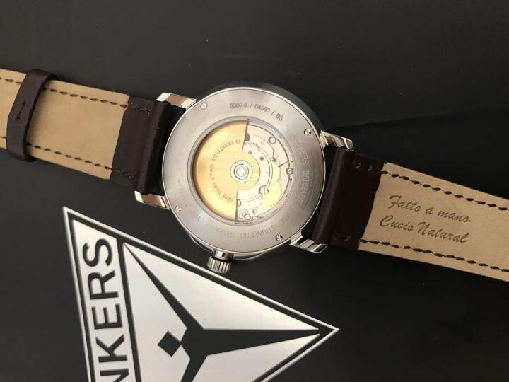 荣克士(Junkers)德国手表男进口正品夜光时尚休闲潮流复古商务腕表真皮带钢带自动机械表男表 6050M-2(黑盘/银钢带) 晒单图