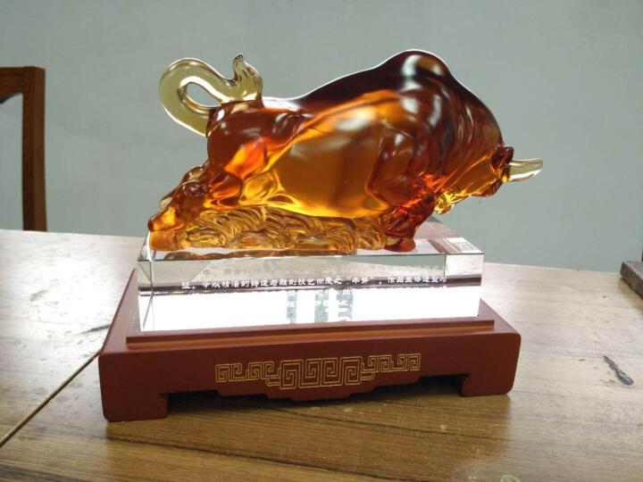 全锦 牛摆件 琉璃工艺品摆件 店铺开业乔迁商务礼品 办公室家居装饰摆设 个性定制 小号 晒单图