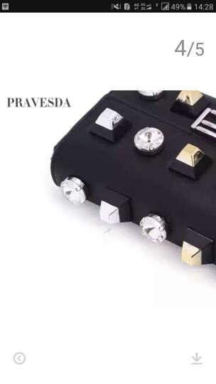 PRAVESDA2017新款欧美时尚百搭撞色铆钉女包小方包金属链条单肩斜挎包方块真皮女包 黑色 晒单图