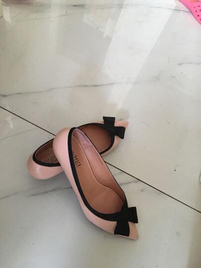 JoyPeace真美诗夏季专柜同款时尚简约蝴蝶结女猫跟单鞋ZR711AQ6 深兰色 34 晒单图