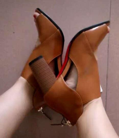 卡芭斯2019新款鱼嘴凉鞋深口低帮鞋后拉链柳钉时尚防水台粗跟女鞋 驼色 39 晒单图