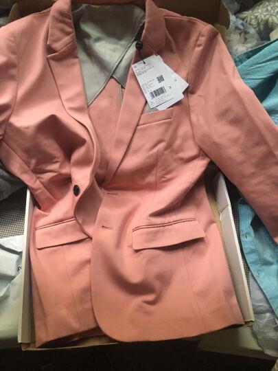 TRENDIANO新男装春装潮休闲纯色短款两粒扣小西装外套3151042490 黑色090 XL 晒单图