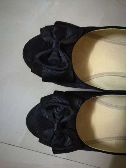 (货到付款)新款正品老北京布鞋女鞋坡跟单鞋职业工作鞋浅口舒适黑色高跟鞋 黑色 37 晒单图