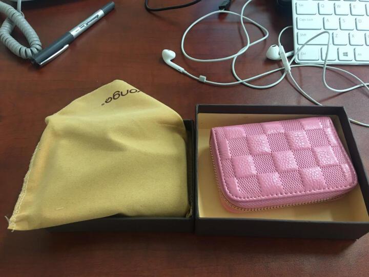 新款时尚女款卡包女士卡套卡片夹拉链名片夹牛皮扇形风琴式信用卡银行卡卡片包信用卡包卡夹 粉红色 晒单图