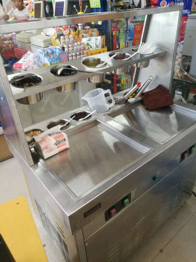 乐创(lecon) 乐创商用炒冰机炒酸奶机 带料缸冰淇淋卷机奶油果汁机炒冰淇淋卷机冰粥机 双圆锅(单压) 晒单图