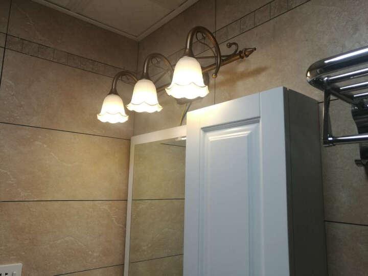 臻诚 欧式复古铁艺 镜前灯 卫生间镜前灯 浴室厕所 美式壁灯梳妆台 灯具 J3001 紫铜金3头A款61cm送LED灯泡 晒单图