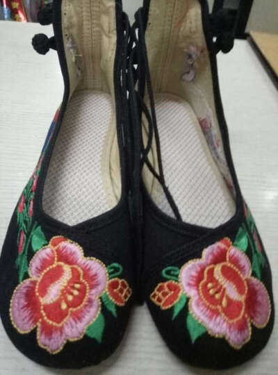 老北京绣花布鞋 16 红尾孔雀 婚鞋民族风广场舞女鞋LLX 蓝色 36 晒单图