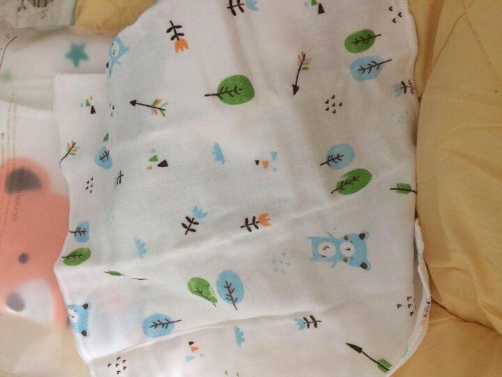 意婴堡(HEEBOO) 婴儿纱布口水巾纯棉7条装儿童方巾加厚4层宝宝围嘴手帕 7色印花图案款 30*30cm 晒单图