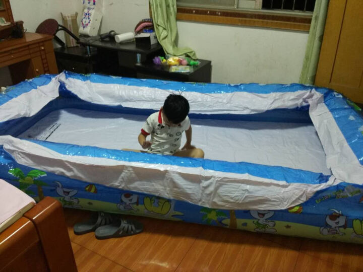 指向标 婴儿游泳池充气套装 加大加厚宝宝戏水池儿童大人家用浴缸浴盆 三层130*90*50商务套餐 晒单图
