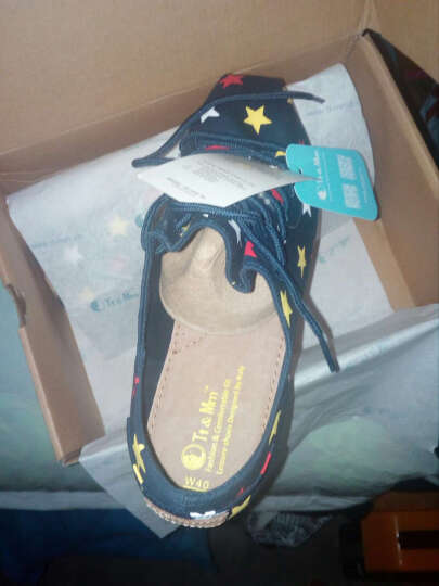 Tt&Mm/汤姆斯帆布鞋新款厚底增高女鞋时尚一脚蹬休闲懒人鞋子透气学生平底单鞋子TM737332W 深蓝(TM737332W) 39 晒单图