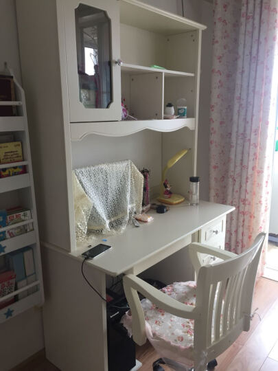 欧倍丝 儿童书桌椅套装 儿童学习桌 电脑桌 写字台 办公桌 带书架 直角书桌+转椅 晒单图
