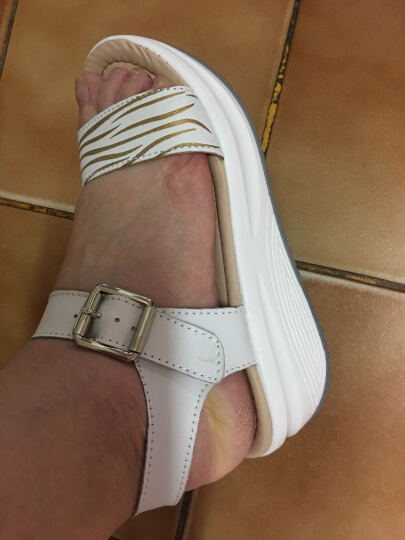 唐亦琛凉鞋女坡跟鱼嘴鞋 露趾沙滩鞋 松糕休闲鞋厚底夏季女鞋 5531-蓝色 36 晒单图