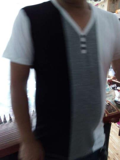 花花公子贵宾短袖T恤男秋季新款时尚韩版潮流休闲百搭多色拼色纯棉T恤 红色PB05614102C 56 晒单图