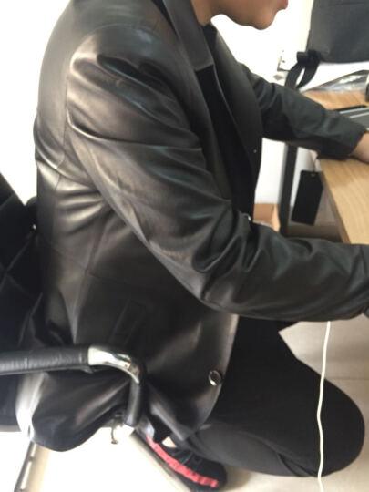索伦森 2018新款真皮皮衣男士海宁绵羊皮中长款风衣修身真皮羽绒服男西装领外套 黑色加棉 195/XXXXXL 晒单图