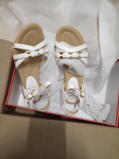 意尔康凉鞋夏季通勤中跟平底女凉鞋舒适休闲坡跟凉鞋女7353ZL29929W 白色 39 晒单图