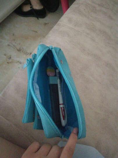 创意女孩系列笔袋 学生男女可爱大容量多功能简约 文具铅笔收纳袋 蓝色 晒单图