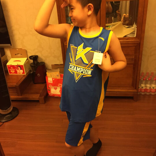 安踏童装 男童运动篮球套装 儿童篮球运动服装 儿童背心训练队服35721204 帝国黄-3 160cm 晒单图