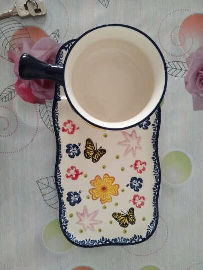 创意带把麦片碗陶瓷泡面碗日式早餐碗饭碗烘焙烤碗甜品餐具套装 碟花色 晒单图