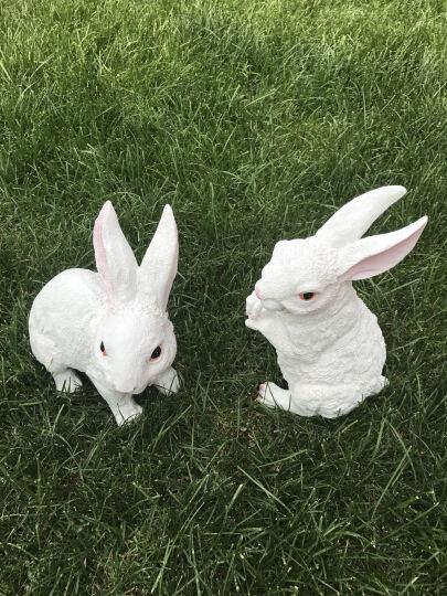 悦吉祥 仿真动物小白兔子摆件景观公园树脂雕塑工艺品花园林庭院户外装饰品 白兔单只 晒单图