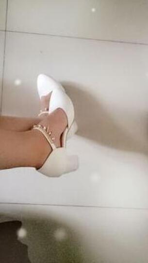 足迹缘2017新款单鞋女复古小皮鞋英伦休闲女鞋布洛克时尚牛津鞋 粉色 38 晒单图