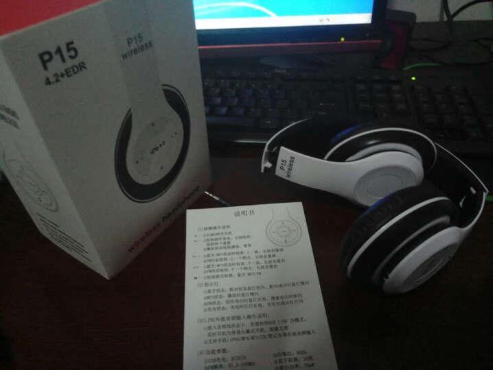 mate苹果三星魅族无线蓝牙耳机头戴式 插卡重低音手机电脑电视无线音乐耳麦MP3播放器 白黑色-送内存卡 晒单图