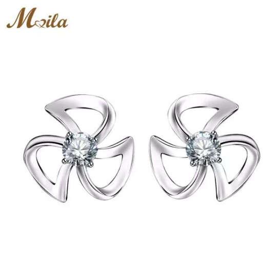 迈娜(Maila) 迈娜Maila 钻石耳环银耳钉女时尚耳饰 晒单图
