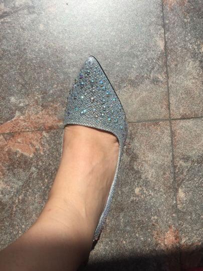 帛屐高跟鞋女尖头浅口单鞋细跟高跟婚礼伴娘鞋潮OL工作鞋 粉色 38 晒单图