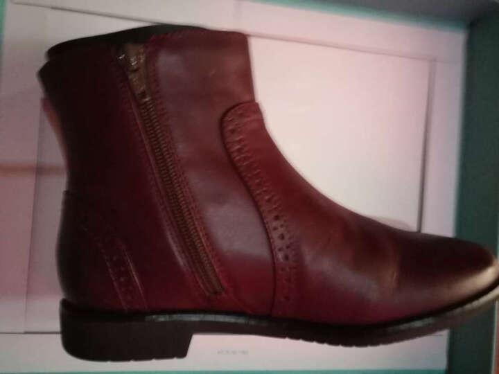 Teenmix/天美意冬季专柜同款打蜡牛皮女短靴6D441DD5 黑色 35 晒单图