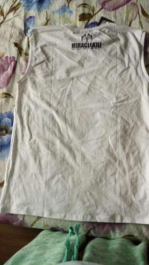 MIRACLE KILL春夏新款死神双刀LOGO小圆圈潮牌无袖T恤 白色 XL 晒单图