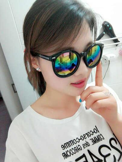名客(Mincl)透明框箭头款墨镜女潮款太阳镜复古圆太阳眼镜同款28050 亮黑框七彩片 晒单图