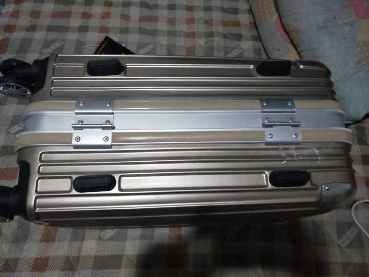 学生铝框拉杆箱手拉箱镜面拉丝耐磨刮旅行箱男女行李箱密码万向轮铝合金包角 玫瑰金 24英寸 晒单图