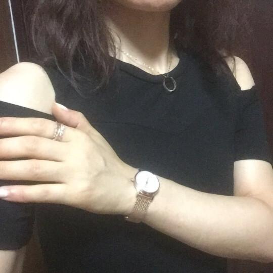 博仕顿 手表 女2019新款时尚韩版精钢网带日历女士手表防水女表 钻石款红带玫瑰金白面 晒单图