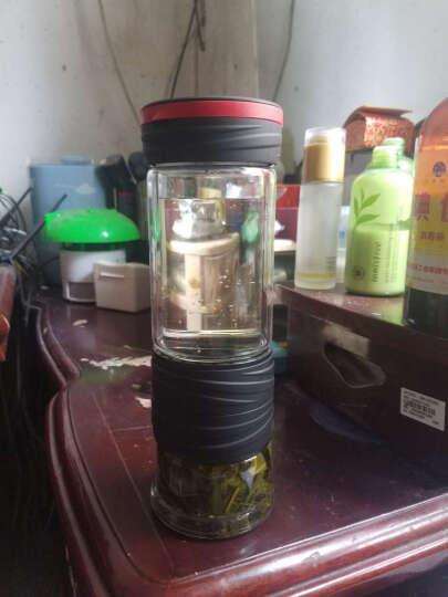 花间道 茶水分离泡茶杯双层玻璃杯创意随手杯过滤杯子男茶水杯便携 拿铁咖(3D立体螺纹款) 晒单图