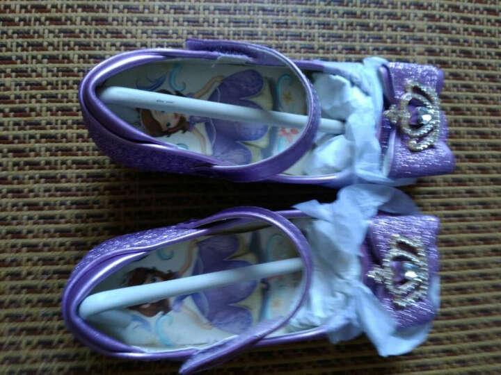 迪士尼女童小皮鞋儿童公主鞋大童豆豆鞋高跟单鞋小女孩水晶学生鞋子舒适 紫色-苏菲亚公主 29码 晒单图