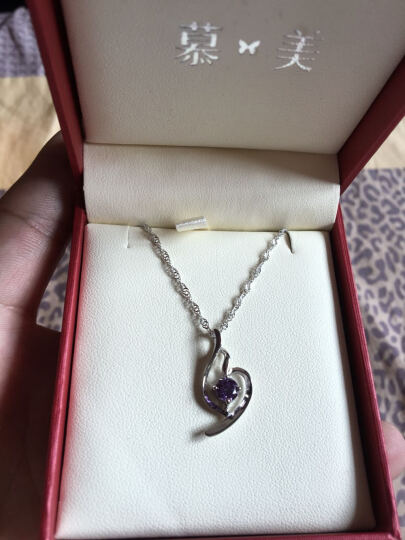 慕美 925银项链女吊坠女士银饰品首饰女 女士项链 送女友礼物 4034 紫水晶 晒单图